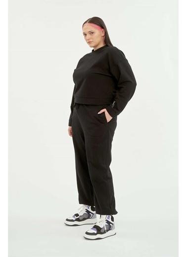 Luokk Katıe Düşük Kol Yuvarlak Yaka Kadın Sweatshirt Siyah